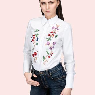 """""""Мои Цветы"""" Pубашка с вышивкой"""
