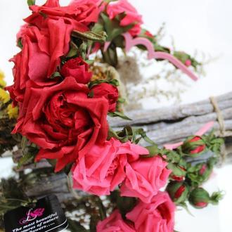 Ободок с алыми розами