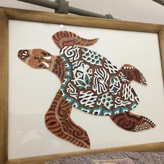 Картина на стекле. Черепаха.