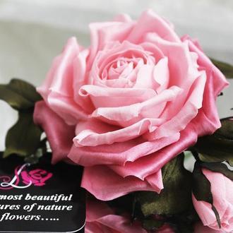 Брошь «Розовая Роза». Цветы из ткани