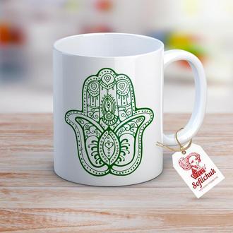 """Дизайнерская чашка с авторским рисунком - """"Хамса амулет"""""""