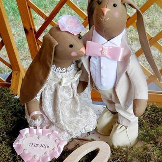 Свадебные зайки в стиле Тильда.