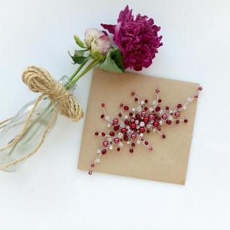 Свадебное украшение для волос, веточка в прическу, бордовое украшение в прическу