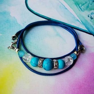 Универсальное украшение браслет - колье с бирюзой