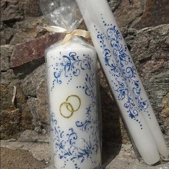 В НАЛИЧИИ комплект свечей в синем цвете для обряда передачи семейного очага