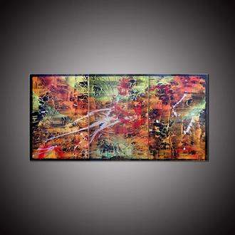 Африка. Триптих, абстрактная картина 60 х 120 см оранжевая абстракция картина из нескольких холстов