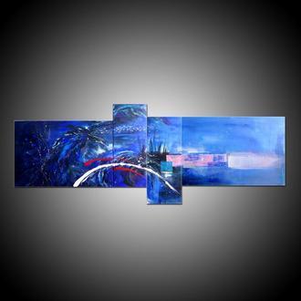 Лох-Несс. Абстрактная модульная картина из нескольких холстов, акрил на холсте, морская абстракция