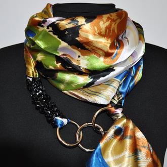 """""""Весенняя гроза"""" атласный шарф, атласный платок, шарф-колье, шарф-чокер, шейный платок"""