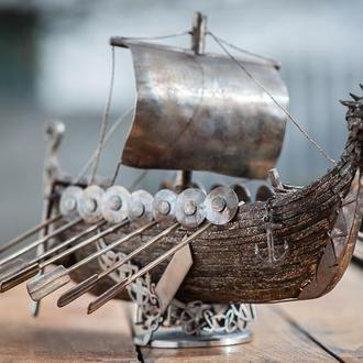 драккар викингов ручной работы из нержавеющей стали