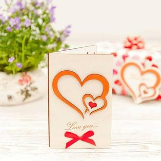 Открытка  из дерева Love you - Два сердца