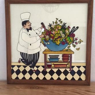 Картина на стекле. Повар с салатом.