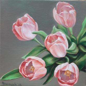 Тюльпаны, цветы, картина маслом размером 24х24см