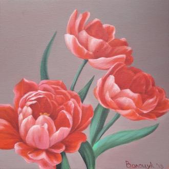 красные тюльпаны, картина маслом размером 24х24см, авторская живопись Мирославы Волощук