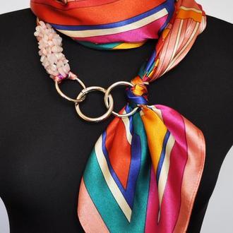 """""""Персиковый уикэнд"""" атласный шарф, атласный платок, шарф-колье, шарф-чокер, шейный платок"""