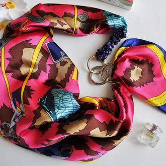 """""""Цветущая фуксия"""" атласный шарф, атласный платок, шарф-колье, шарф-чокер, шейный платок"""