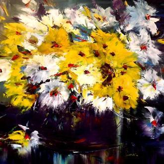 """Холст, живопись маслом""""Желтые цветы"""""""