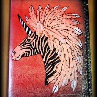 Кожаная обложка на паспорт Полосатый единорог