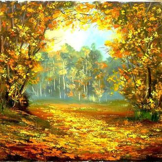 картина Осенний пейзаж 40х50 см холст на подрамнике/масло
