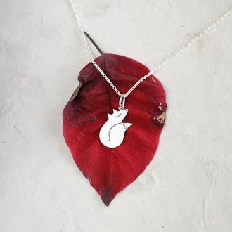 Кулон лиса, серебряный