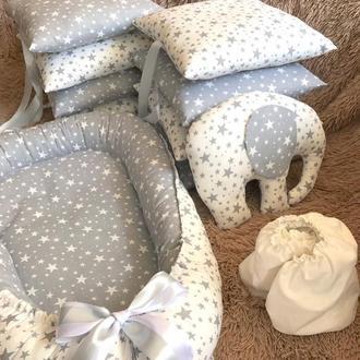 Наборы: кокон-гнездышко, плед-конверт, простынка, бортики, подушечка для мальчика