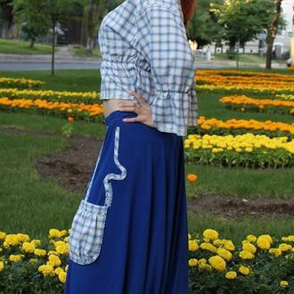 Брюки-юбка широкие синие + жакет с ручной вышивкой