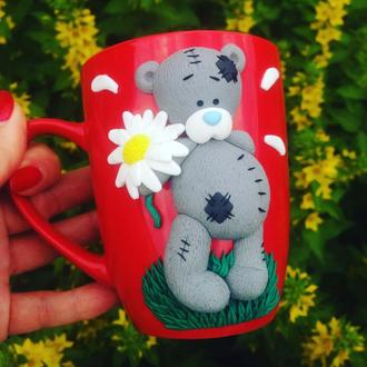 Кружка с декором из полимерной глины Влюбленный Тедди