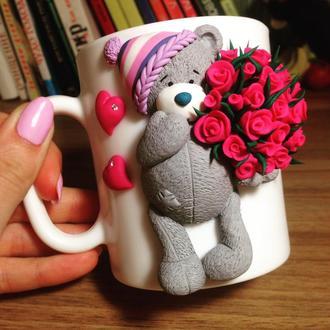 Набор кружка+чашка с декором из полимерной глины с Тедди
