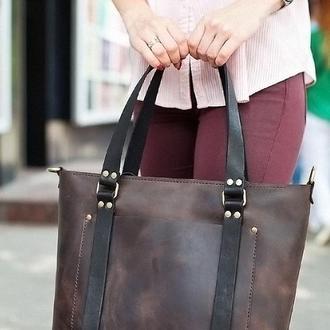 Кожаная сумка шоппер на молнии