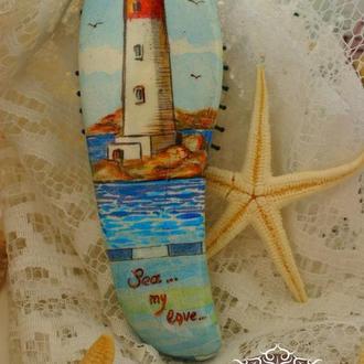 Щетка для волос: «Sea... My love. Morning (Море - любовь моя. Утро)»