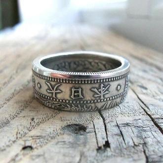 Кольцо из монеты 50 сен Японии 1873-1905 Серебро