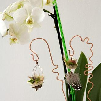 Гнездо с птичкой - подвеска для комнатных цветов