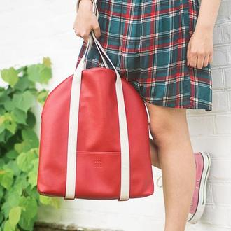 """Большая сумка на плечо """"Oceana"""". Красная сумка шоппер. Эко кожа"""