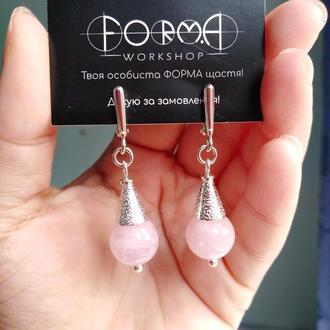 Сережки срібні з рожевим кварцом з Мадагаскару