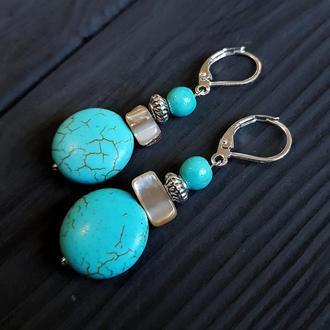 Сережки з натуральними каменями та срібними застібками