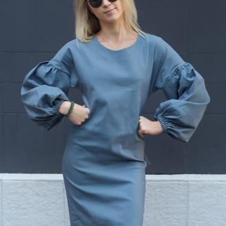 Серое платье миди, пышный рукав, этно, элегантное платье, деловое платье, стильное платье, красивое
