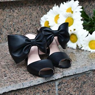 Esmeralda Black - Сабо с бантом на устойчивом каблуке