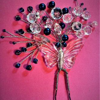 шпильки для волос бабочка