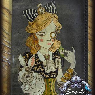 Женская обложка на паспорт Алиса в стране чудес, обложка для паспорта с Алисой