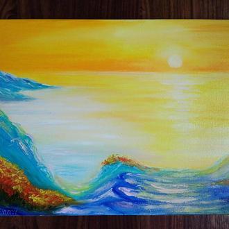 Картина полотно, олія, Світанок на морі