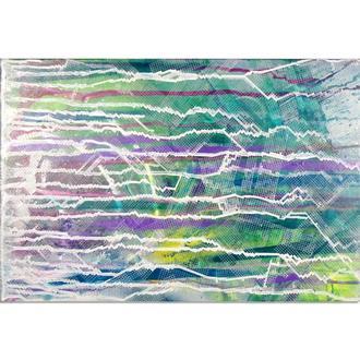 Батик. Готовая картина, зеленая абстракция, авторская живопись, акрил на холсте, mixed media