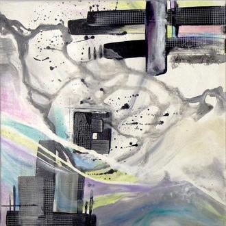 Цветной квадрат. Авторская абстрактная живопись, черно-белая абстракция, купить картину