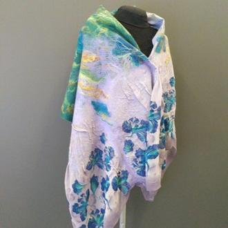 Палантин шарф на шелке валяный итальянский меринос Ирисы