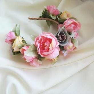 """Обруч """" Розовые пионы"""""""