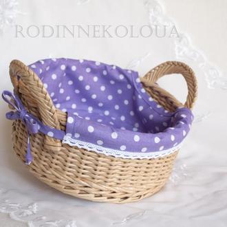 """Плетеная корзинка с чехлом """"Лаванда"""""""