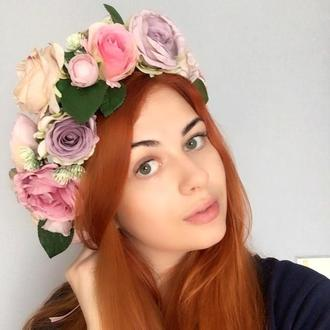 """Венок """" Пастельные розы"""""""
