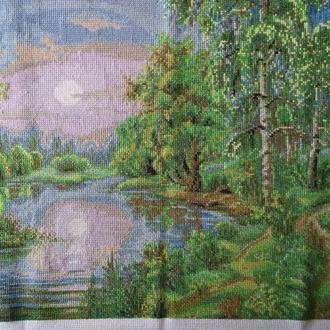 """Картина""""Весенний пейзаж"""" вышивка крестиком"""