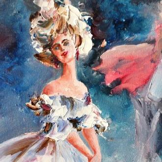 Отражение, картина маслом, балерина, картина мастихином, 52 см высота и 36 см ширина с рамой