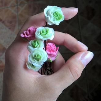 Невидимки, заколки, украшения для волос, цветы, розочки