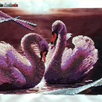 """""""Лебеді на вечірньому озері"""", чеський бісер"""