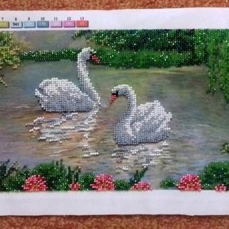 """Картина """"Лебеді на озері"""", чеський бісер"""
